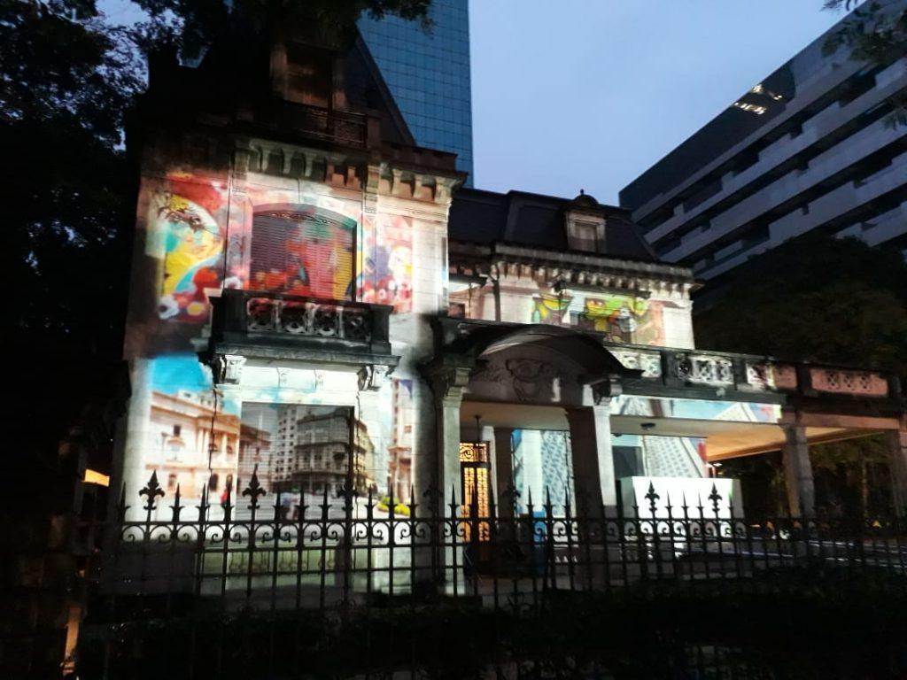 Video mapping na Casa das Rosas em homenagem ao aniversário de São Paulo.
