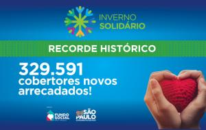 Campanha Inverno Solidário 2020 arrecada mais de 329 mil cobertores novos