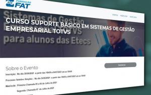 Centro Paula Souza abre inscrições para curso de sistemas Totvs voltado a alunos Etecs