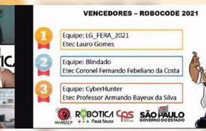 Etec Lauro Gomes é tricampeã do Torneio Robocode do CPS